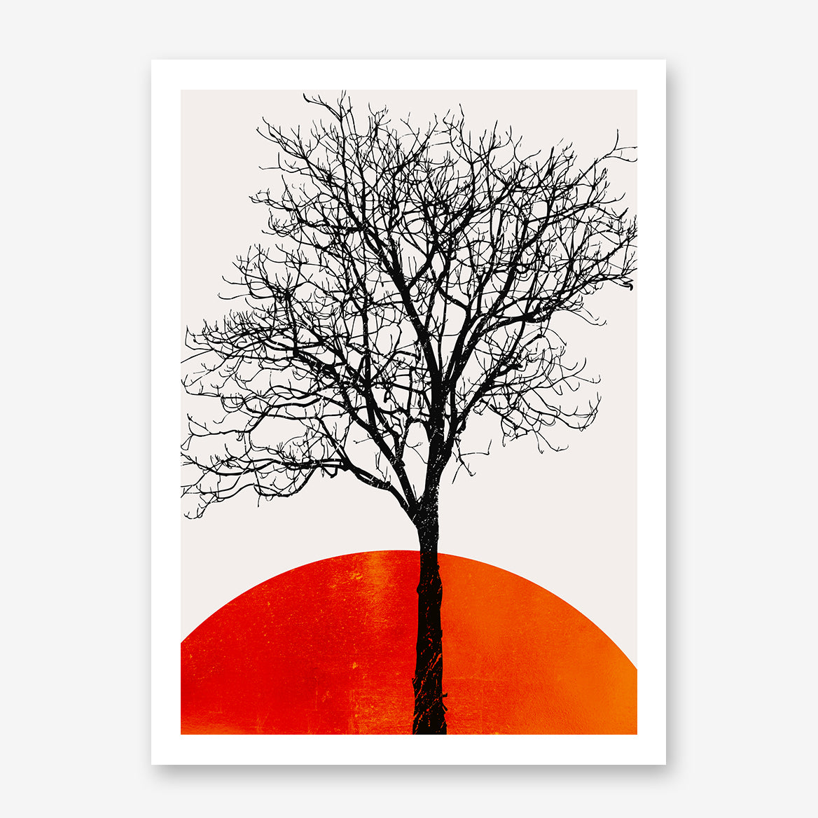Illustration print by Kubistika, with black tree and dark orange sunrise, on light grey background.