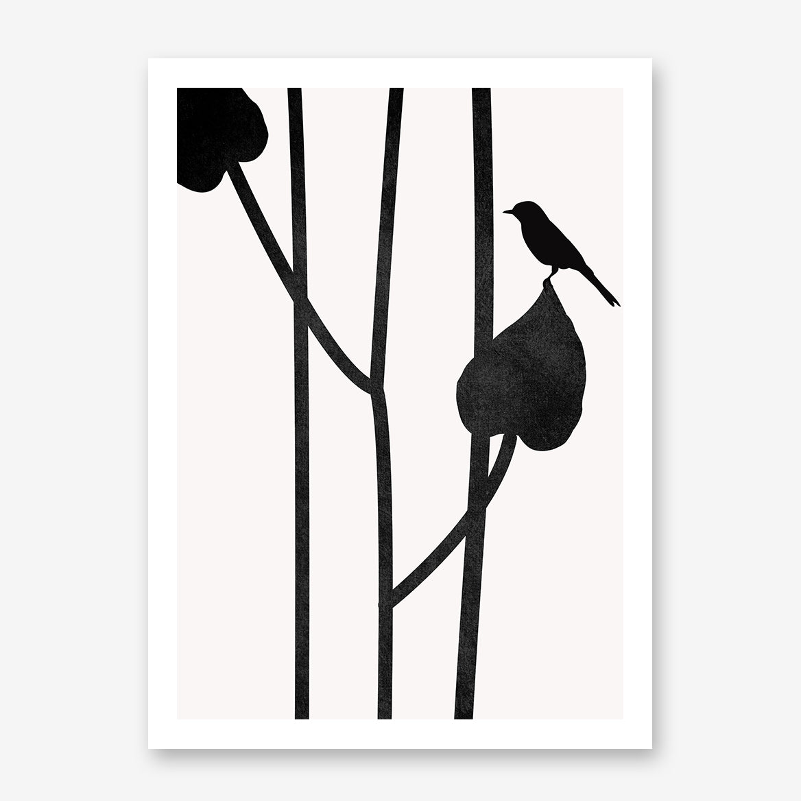 Minimalist graphic print by Kubistika, with a bird on black leaves, on grey background.
