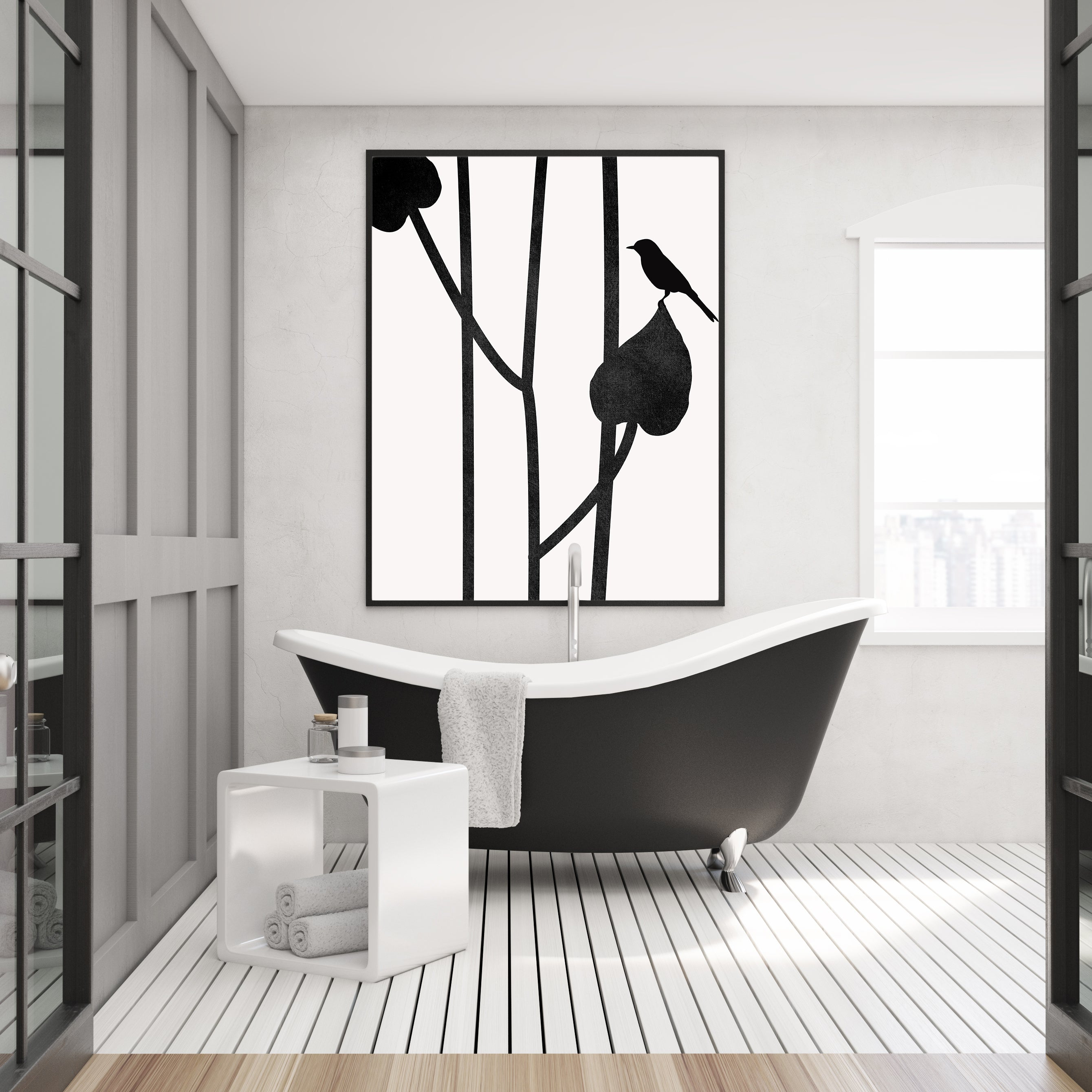 Minimalist graphic print by Kubistika, with a bird on black leaves, on grey background; in bathroom