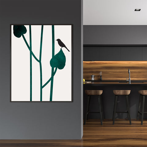 Minimalist graphic print by Kubistika, with a bird on green leaves, on grey background; in kitchen