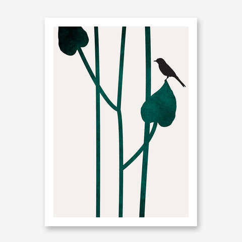 Minimalist graphic print by Kubistika, with a bird on green leaves, on grey background