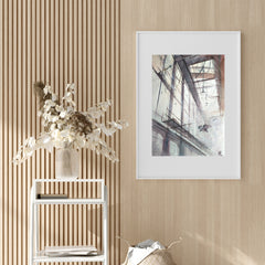 Architecture poster print with birds flying inside a building, originally a watercolour painted artwork by Vera Kolgashkina, on hallway