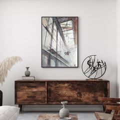 Architecture poster print with birds flying inside a building, originally a watercolour painted artwork by Vera Kolgashkina, in living room