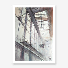 Architecture poster print with birds flying inside a building, originally a watercolour painted artwork by Vera Kolgashkina