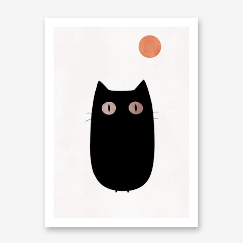 Poster print by Kubistika, with graphic black cat and orange moon, on light pink background.