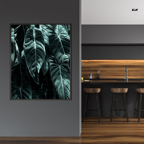 Photography poster print by Kubistika, with large green leaves; in kitchen