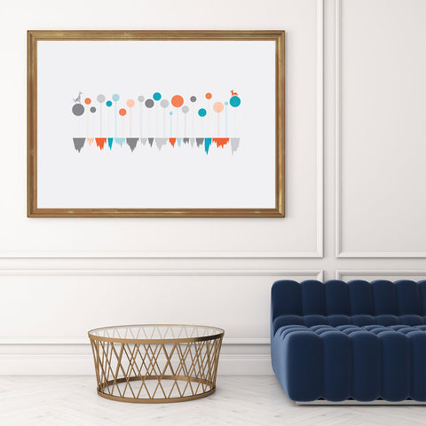 Minimalist illustration print by Judy Kaufmann, with a dog and a fox, on grey background, in living room