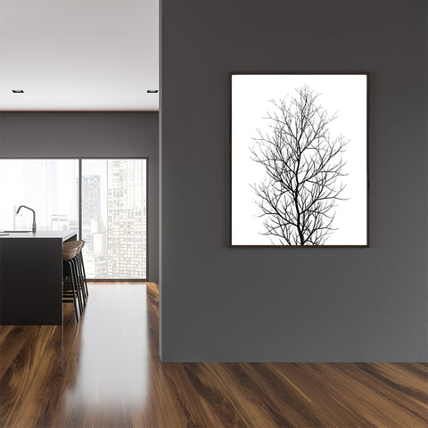 Black and white illustration poster print by Kubistika, with large tree, on white background; in dining room