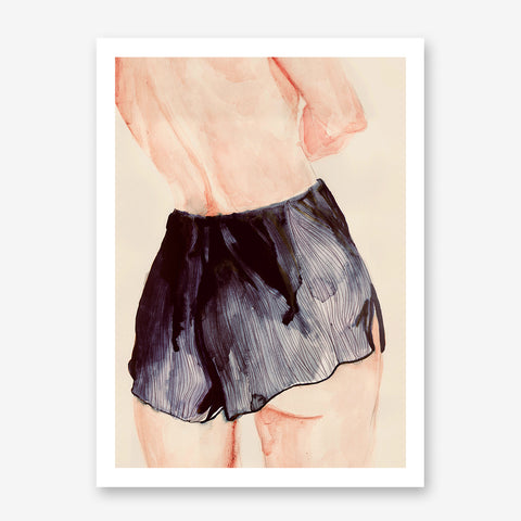 Fashion poster print with a sensual lady's back in black shorts.