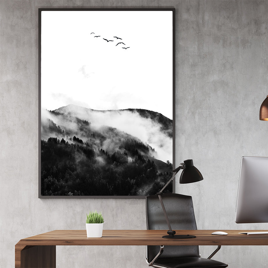 Black and white photo poster print by Kubistika, with foggy mountain forest and birds; in office