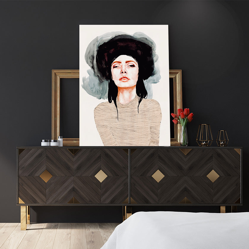 Fashion poster print by Sophia Novosel, with a girl wearing a black hat, bedroom view