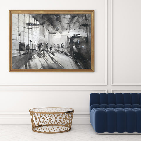 Black and white poster print with a train station, originally a watercolour painted artwork by Vera Kolgashkina, on hallway
