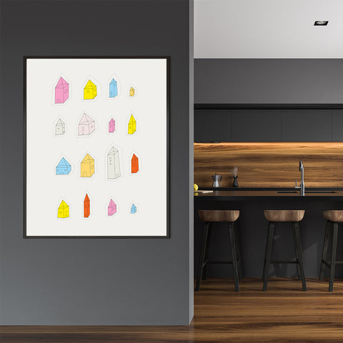 Colourful houses illustration print by Judy Kaufmann, on grey background, in dining room