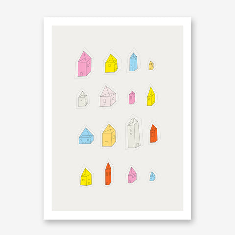 Colourful houses illustration print by Judy Kaufmann, on grey background.