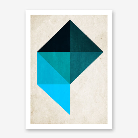 Geometric poster print by Kubistika, with blue shapes, on beige background.
