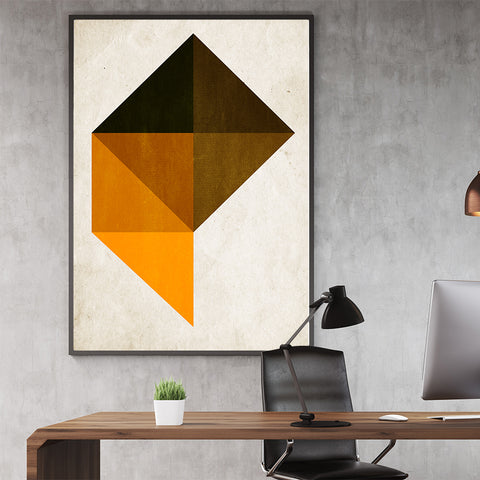 Geometric poster print with black and orange shapes, on beige background; in officde