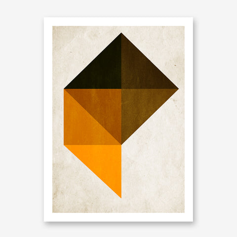 Geometric poster print with black and orange shapes, on beige background.
