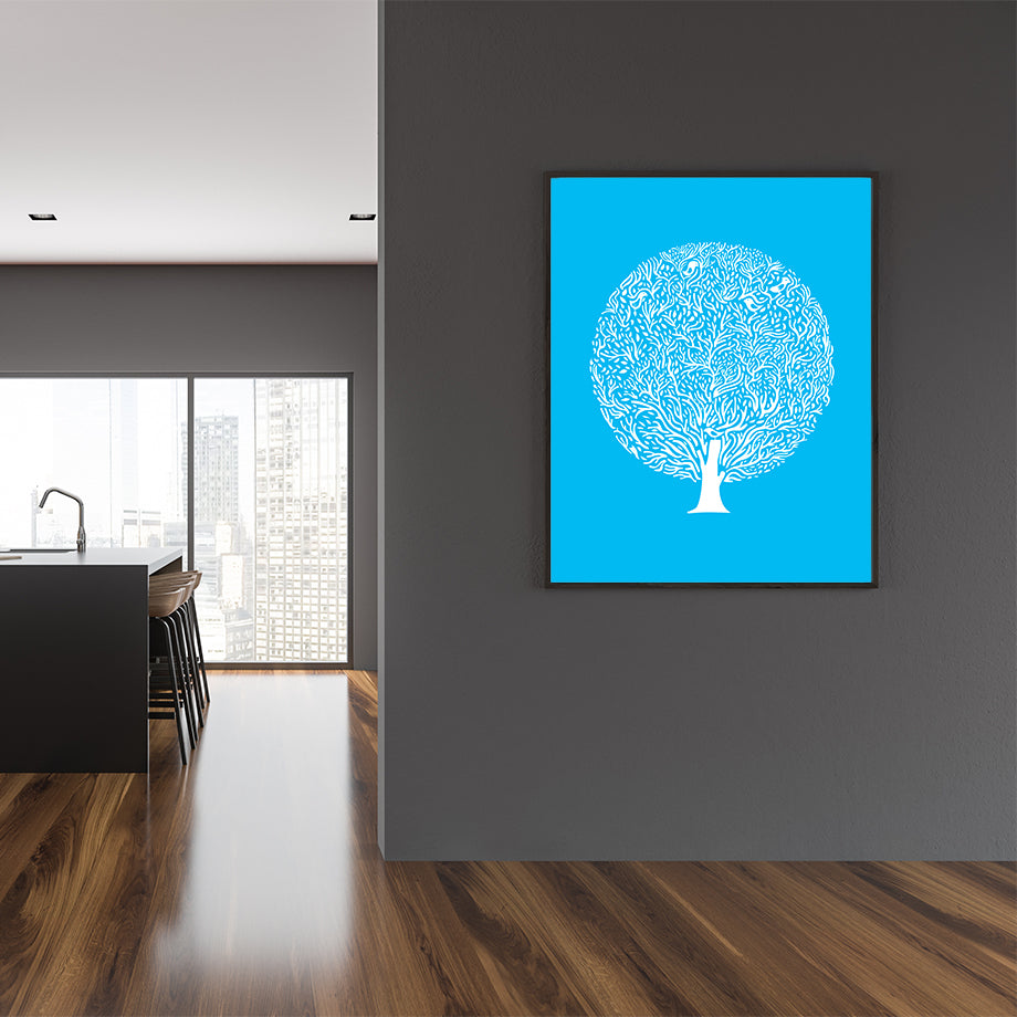 White tree illustration print by Judy Kaufmann, on blue background, in dining room