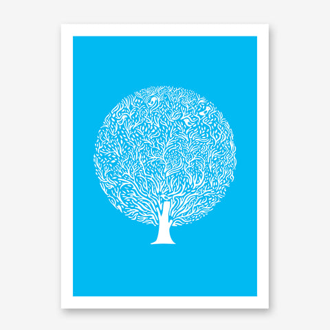 White tree illustration print by Judy Kaufmann, on blue background.