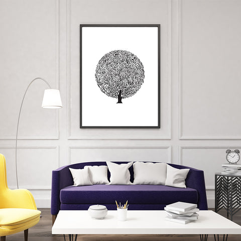 Black tree illustration print, on white background, in living room