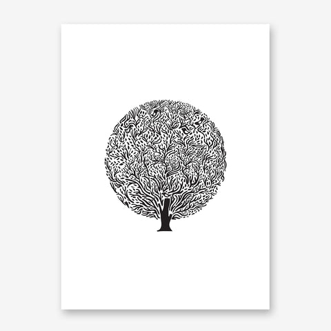 Black tree illustration print by Judy Kaufmann, on white background.