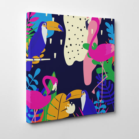 Illustration canvas print with colourful leaves and birds - side view