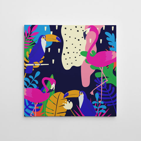 Illustration canvas print with colourful leaves and birds