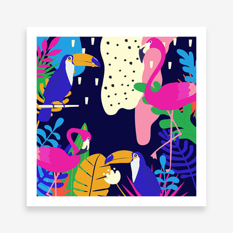 Illustration poster print with colourful leaves and birds.
