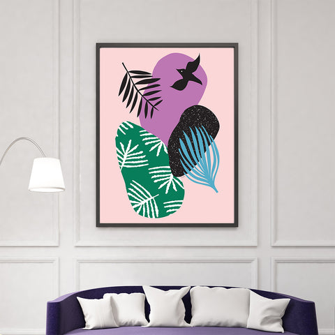 Illustration poster print by Linda Gobeta, with colourful shapes, leaves and black bird, on pink background, living room view