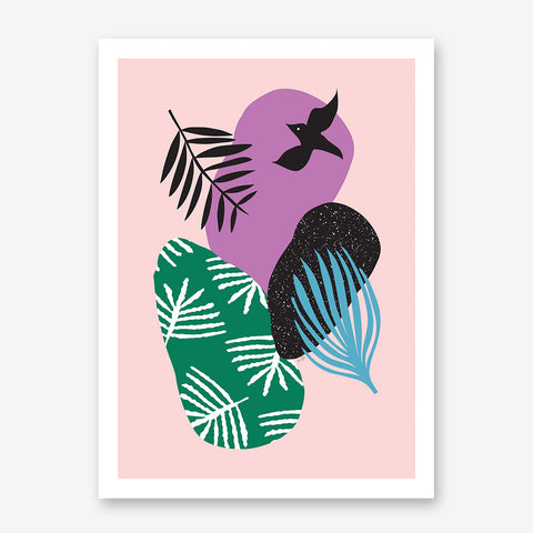 Illustration poster print by Linda Gobeta, with colourful shapes, leaves and black bird, on pink background.