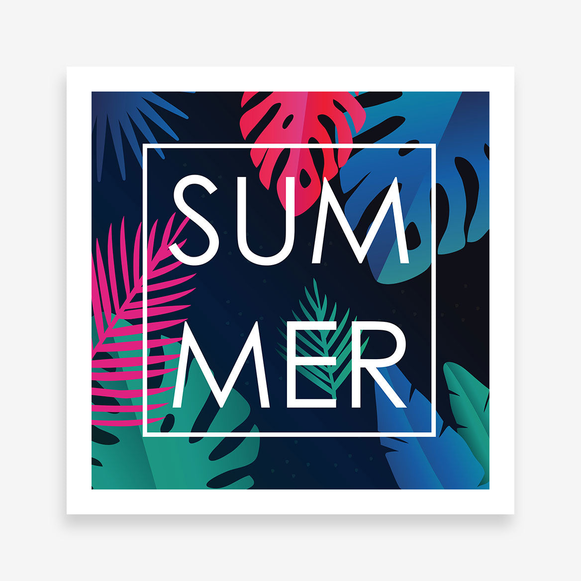 "Illustration poster print with colourful leaves and the word ""Summer"" in white."
