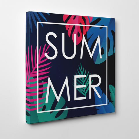 "Illustration canvas print with colourful leaves and the word ""Summer"" in white."
