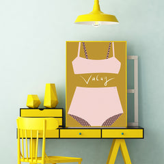 Typography poster print with ''Vacay'' quote and pink swimsuit, on mustard background, full print view
