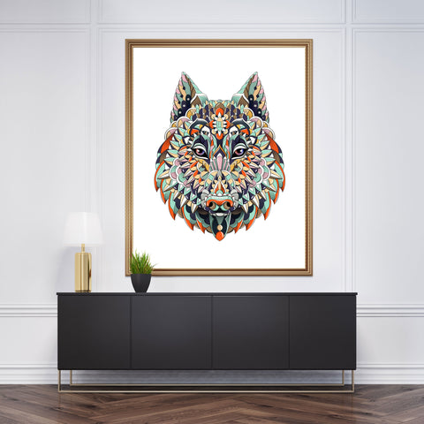 Patterned wall art with a wolf head on white background.
