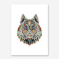 Patterned poster print with a wolf head on white background.