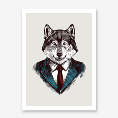 Poster print with a smart dressed wolf's sketch on light grey background