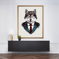 Wall art with a smart dressed wolf's sketch on light grey background