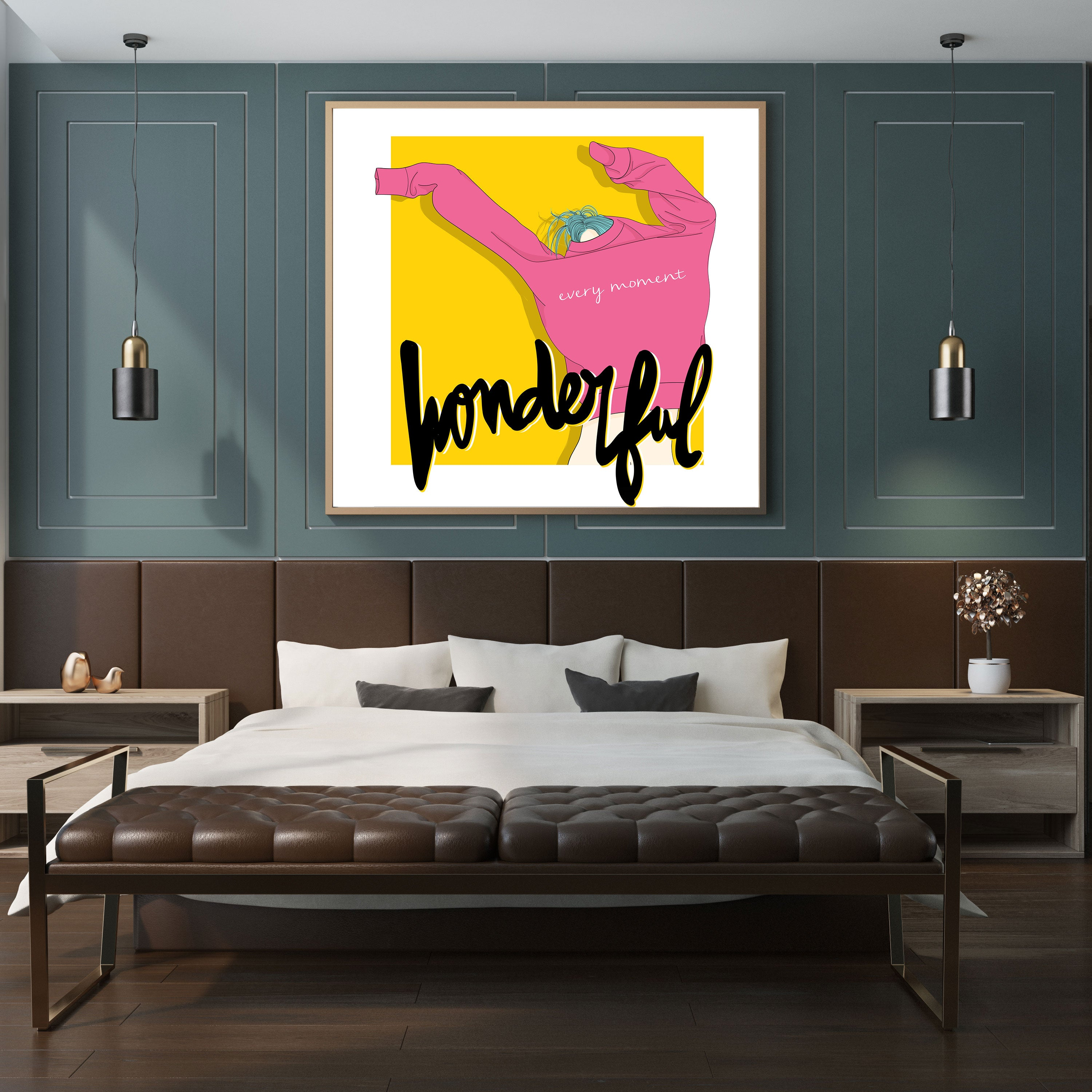 Pink and yellow poster print with a girl dressing up and the quote 'wonderful every moment'-wall view