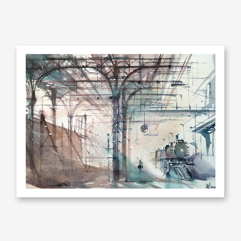 Brown and blue poster print with a train station, originally a watercolour painted artwork by Vera Kolgashkina