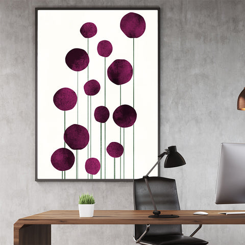 Botanical poster print by Kubistika, with abstract pink flowers, on light beige background; in office