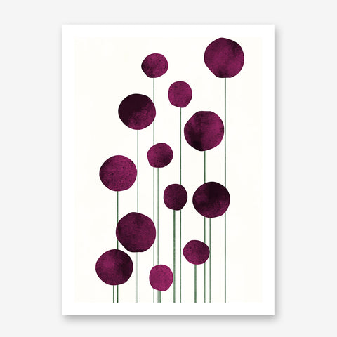 Botanical poster print by Kubistika, with abstract pink flowers, on light beige background.
