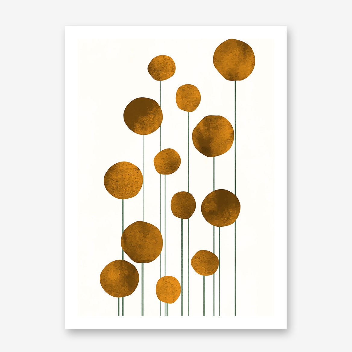 Botanical poster print by Kubistika, with abstract golden flowers, on light beige background