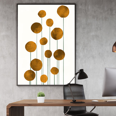 Botanical poster print by Kubistika, with abstract golden flowers, on light beige background; in office