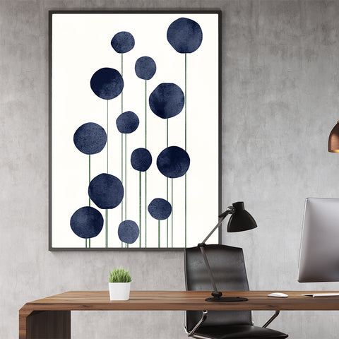 Botanical poster print by Kubistika, with abstract blue flowers, on light beige background; in office
