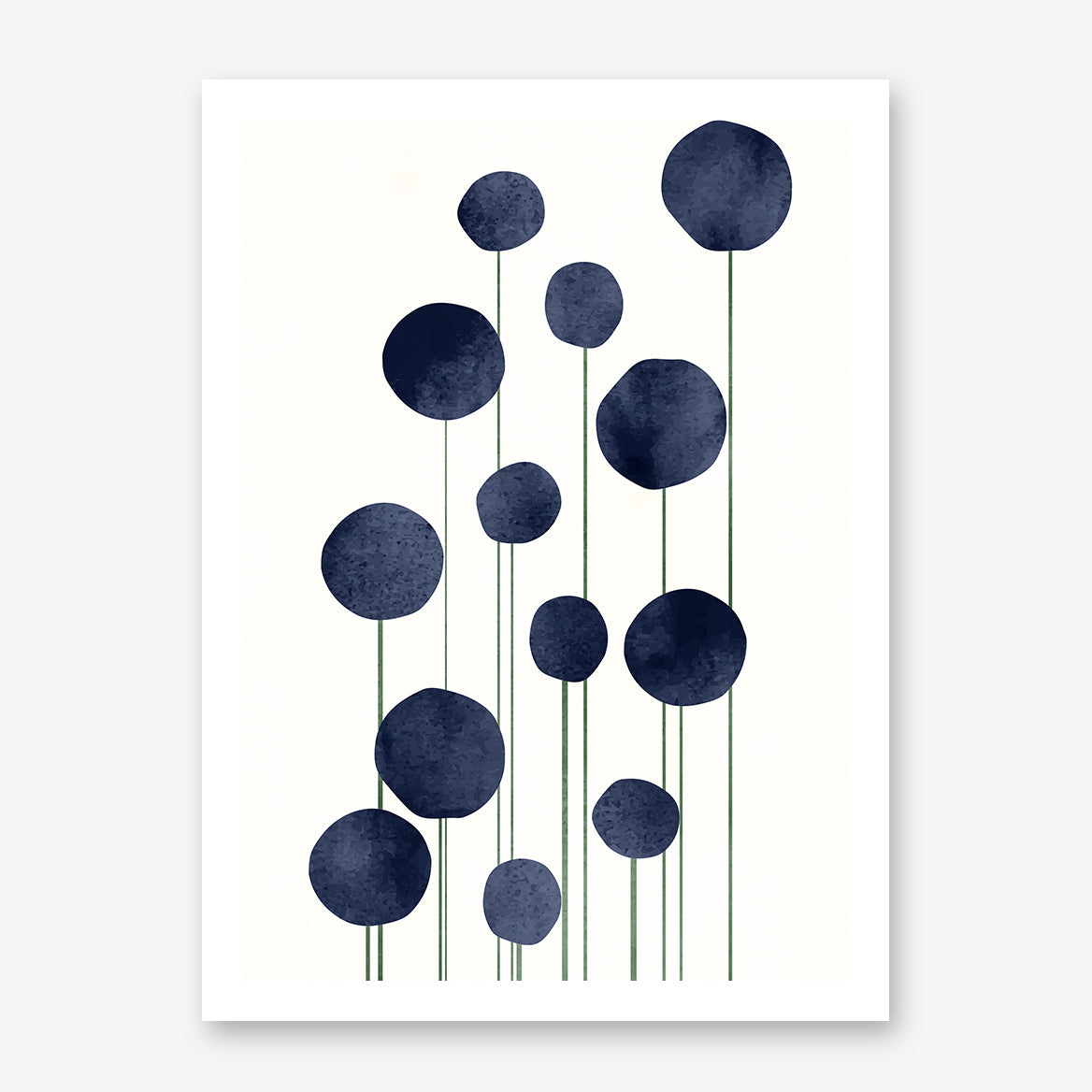 Botanical poster print by Kubistika, with abstract blue flowers, on light beige background