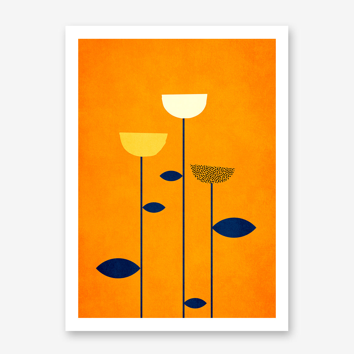 Botanical poster print by Kubistika, with graphic flowers, on orange background