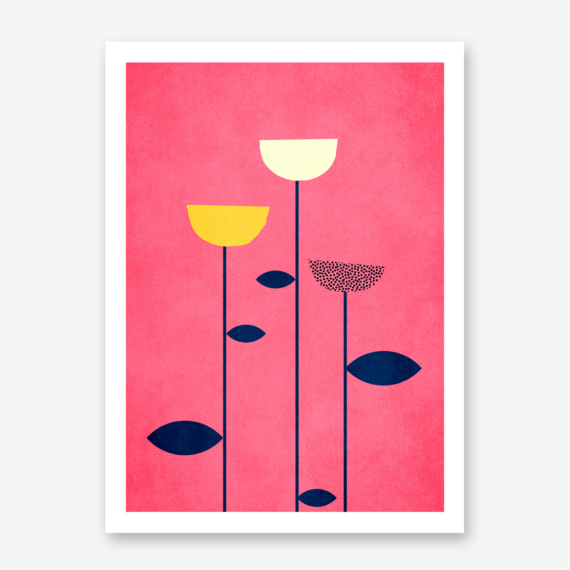 Poster print by Kubistika, with graphic flowers, on pink background.