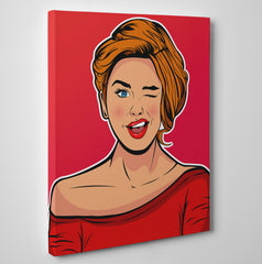 Pop art poster print with winking girl, on red background - side view