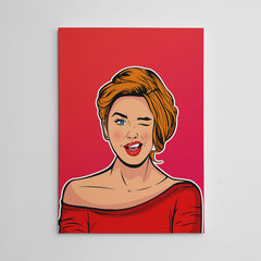 Pop art poster print with winking girl, on red background.