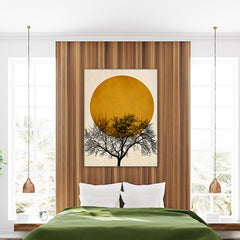 Illustration print by Kubistika, with black tree and mustard sun, on textured beige background, in bedroom.